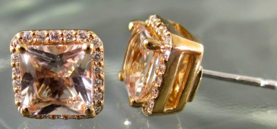 Diamond & Morganite Stud Earrings