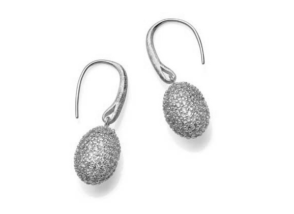 White Crystal Oval Charm Drop Earrings