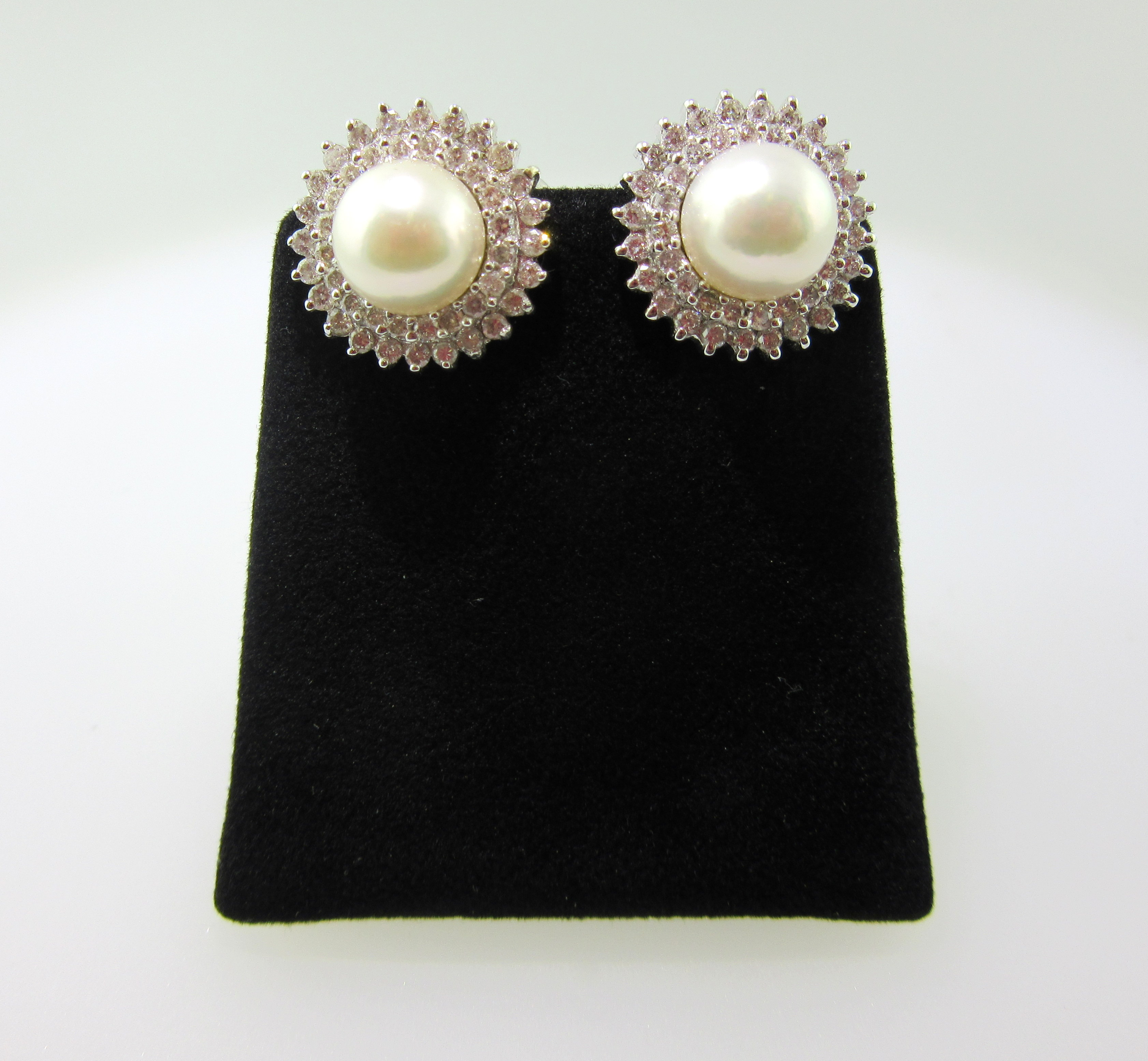 Japanese Akoya Pearl & Diamond Stud Earrings