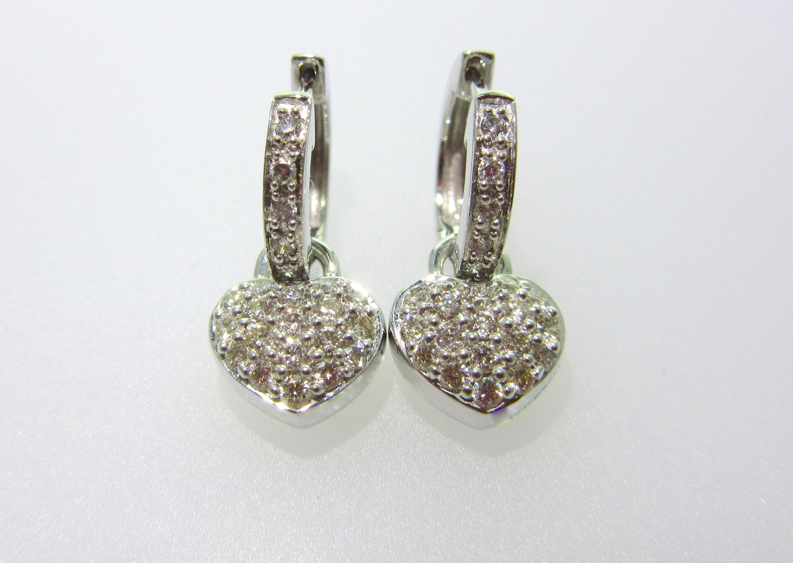 Heart Charm Diamond Earrings
