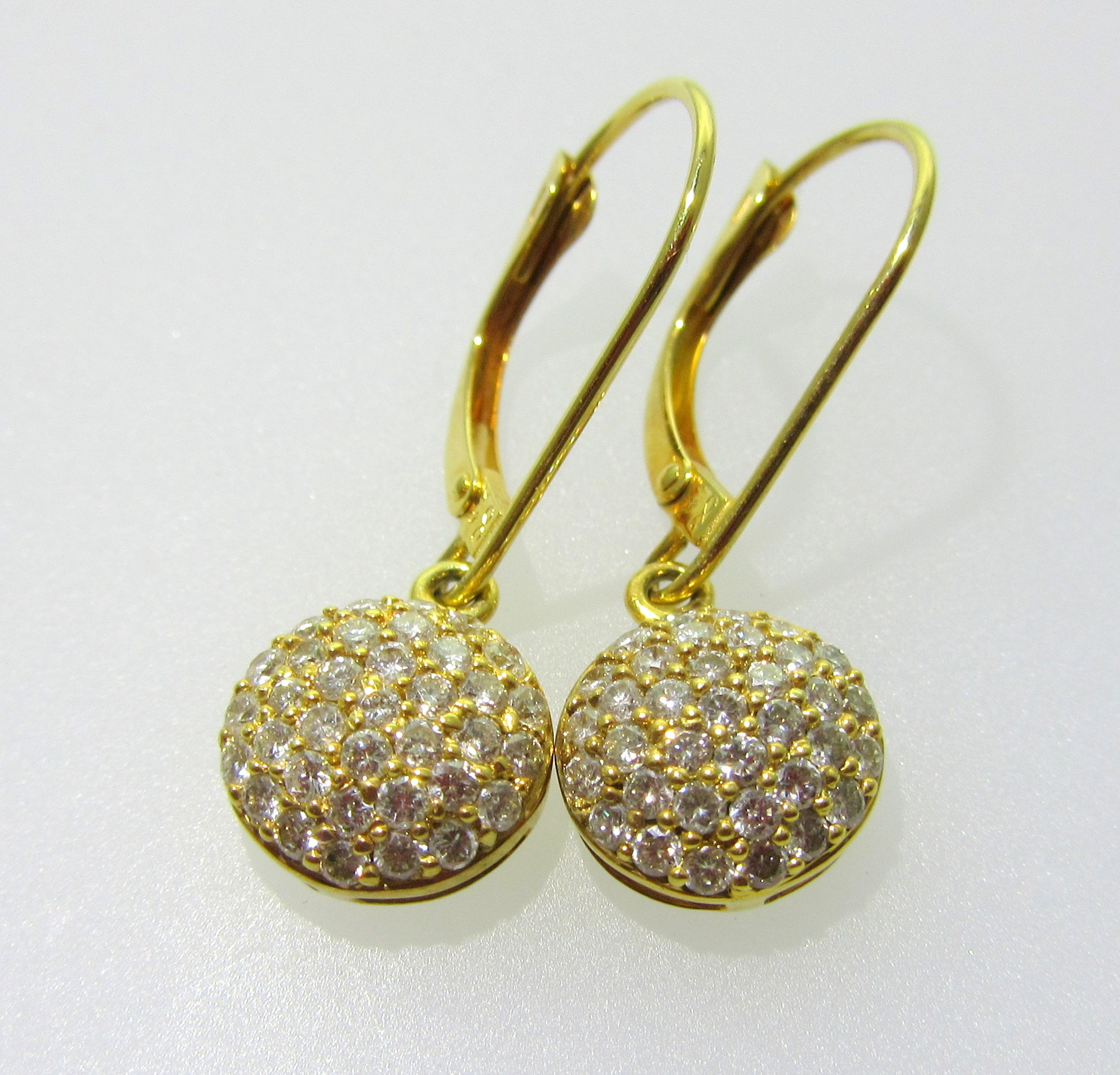 Diamond Button Drop Earrings