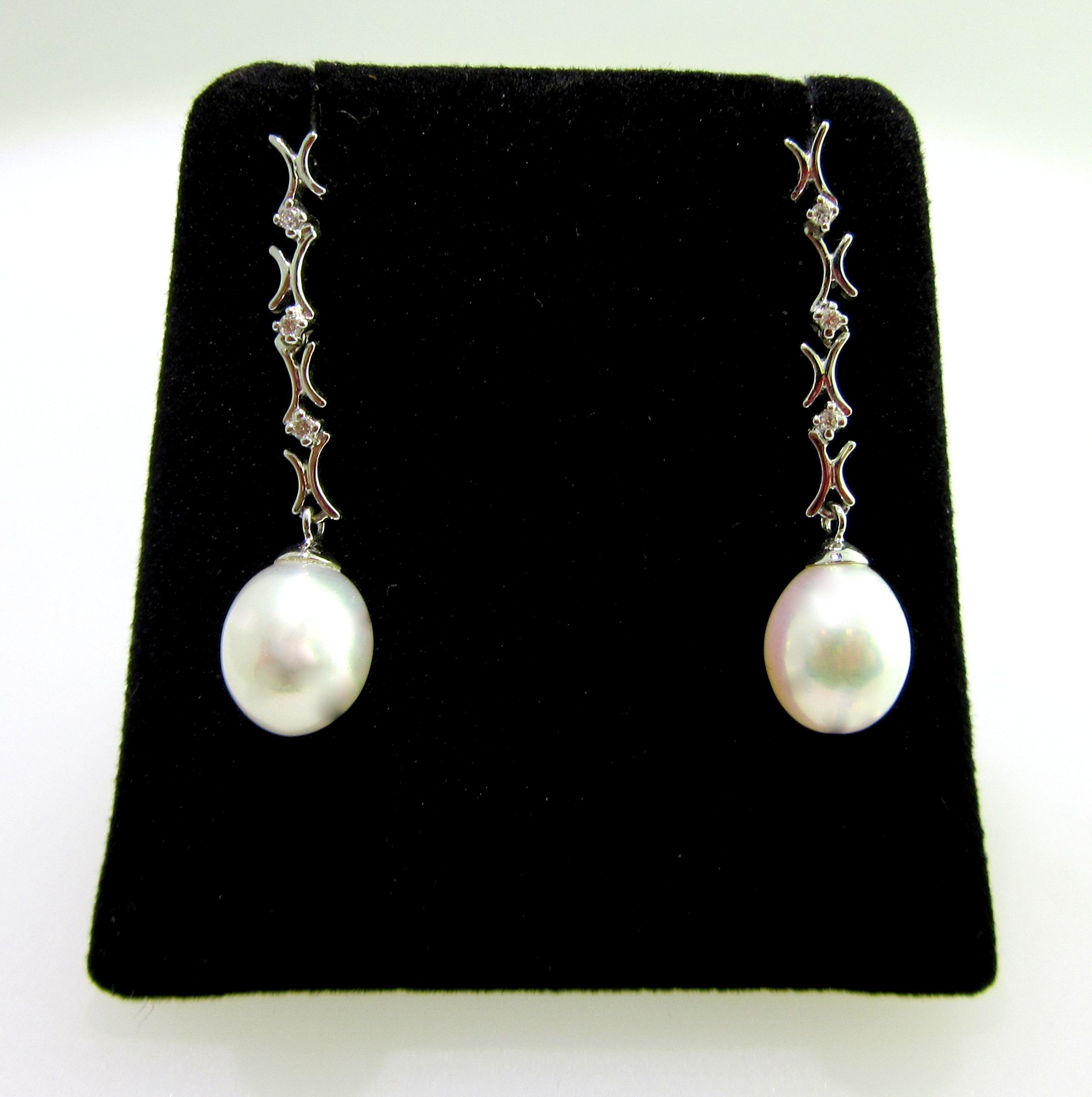 Freshwater Drop Pearl & Diamond Earrings