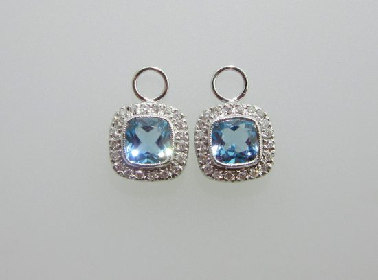 Cushion Cut Blue Topaz & Diamond Earring Charms