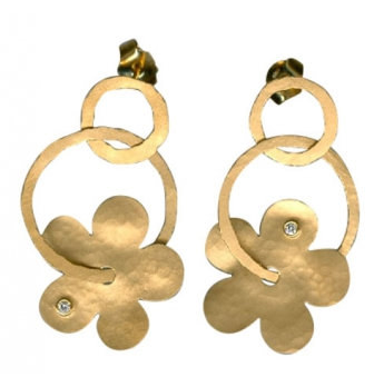 Diamond Dangle Flower & Circle Post Earrings