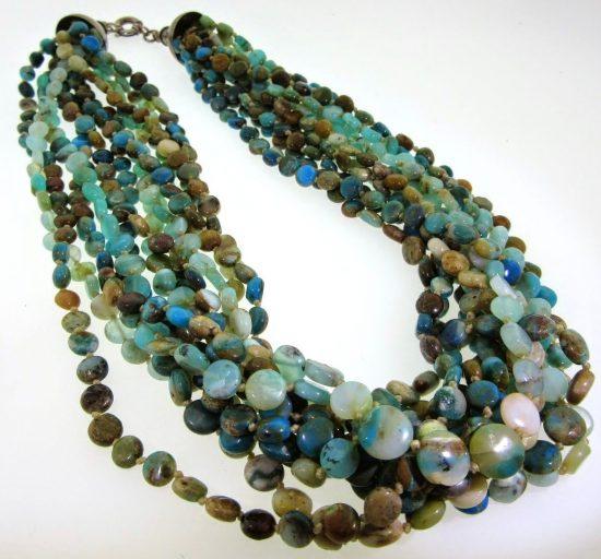 Designer Joan Slifka Twelve Str& Turquoise Necklace