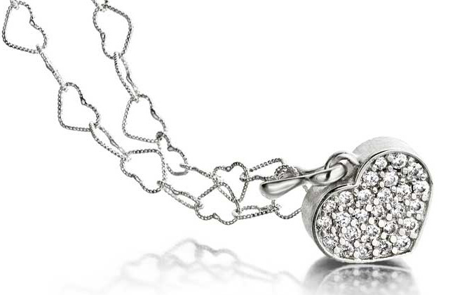 White Crystal Heart on Heart Shaped Chain