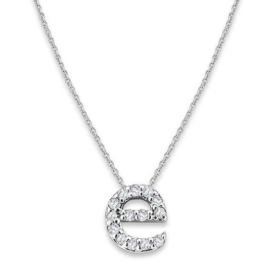 """E"" Diamond Baby Typewriter Initial Necklace"