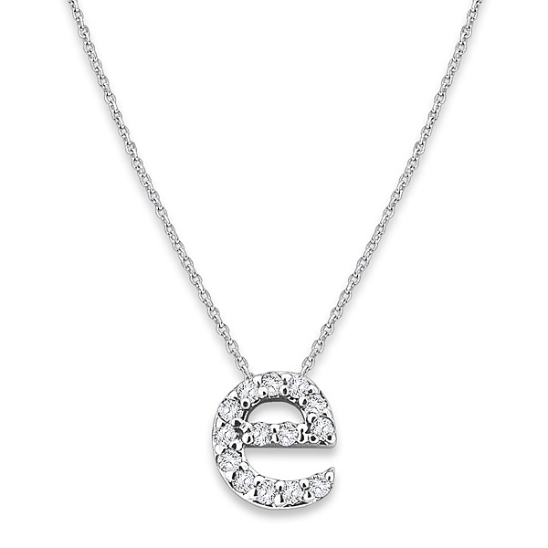 """E"" Diamond Baby Typewriter Initial Necklace"
