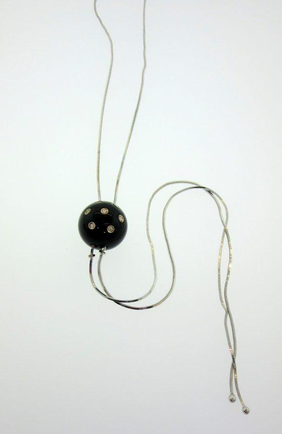 Black Onyx & Diamond Lariat Necklace