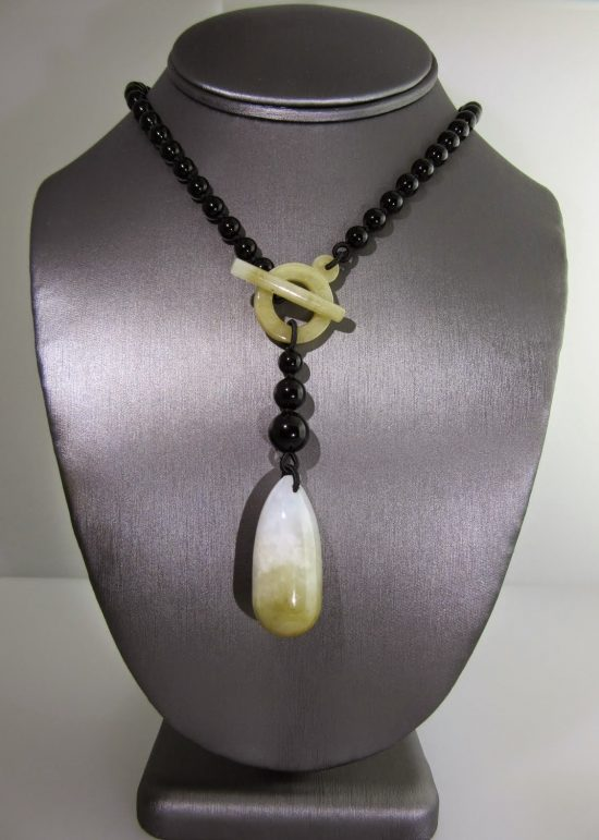 Black Onyx & Jade Tie Drop Necklace