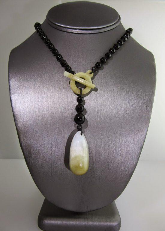 Black Onyx & Jade Tie Drop Necklace