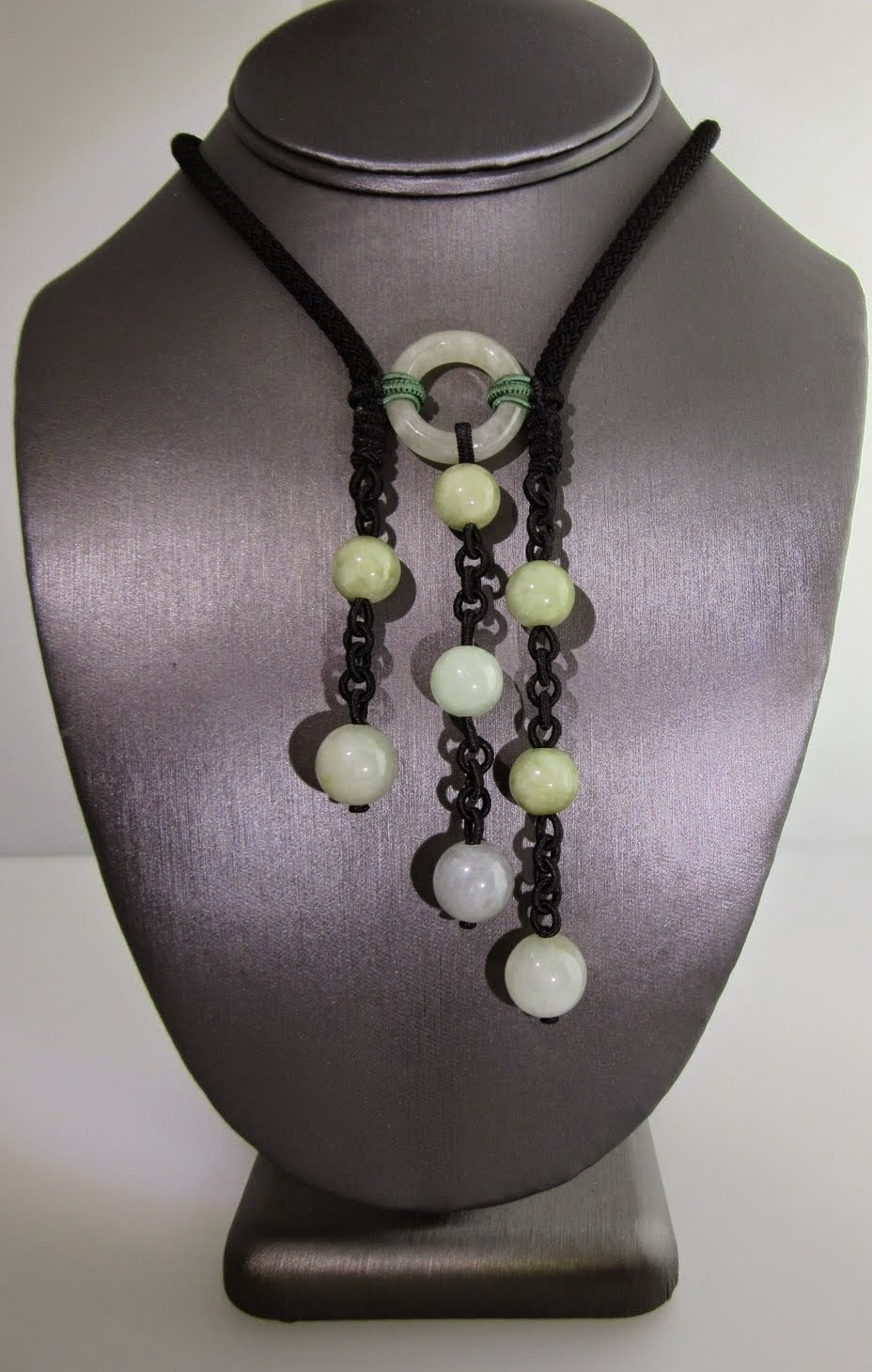 Triple Onyx Necklace with Jade Green