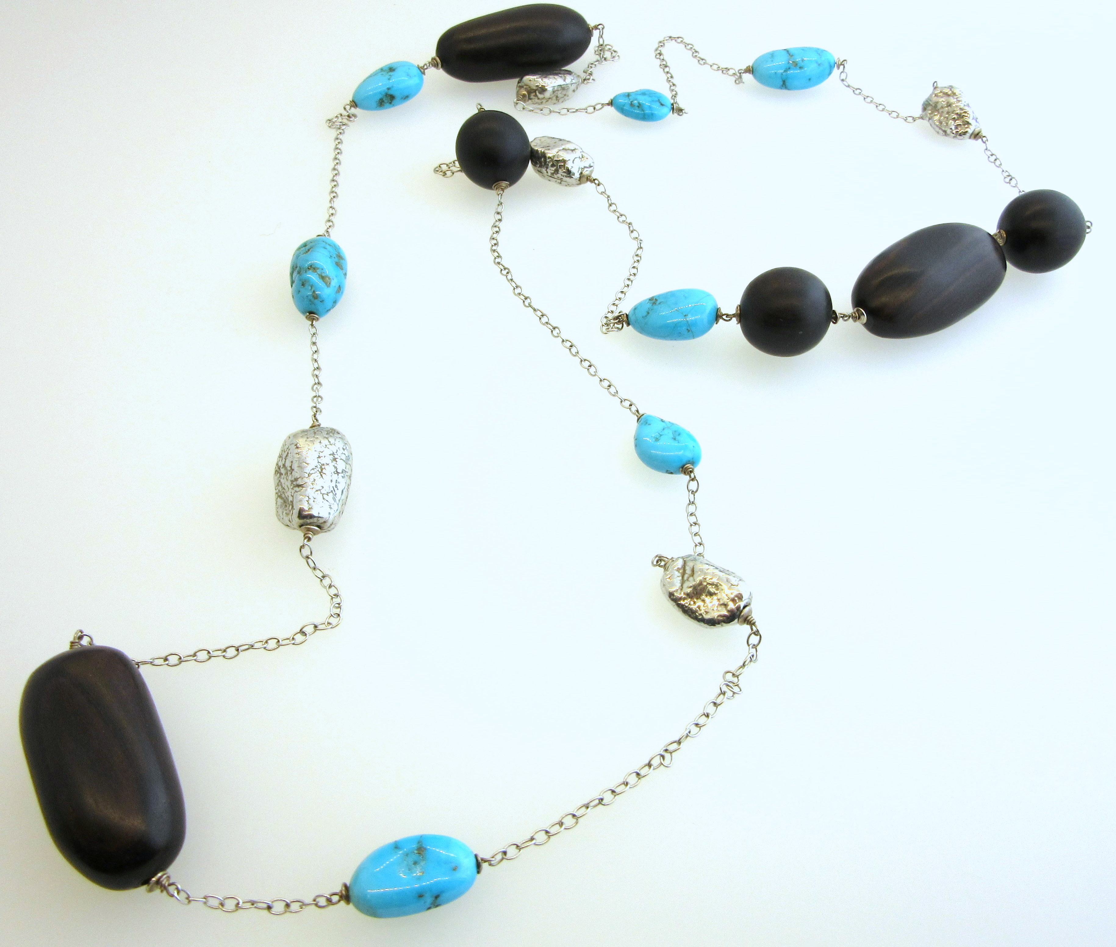 Turquoise & Wooden Bead Necklace