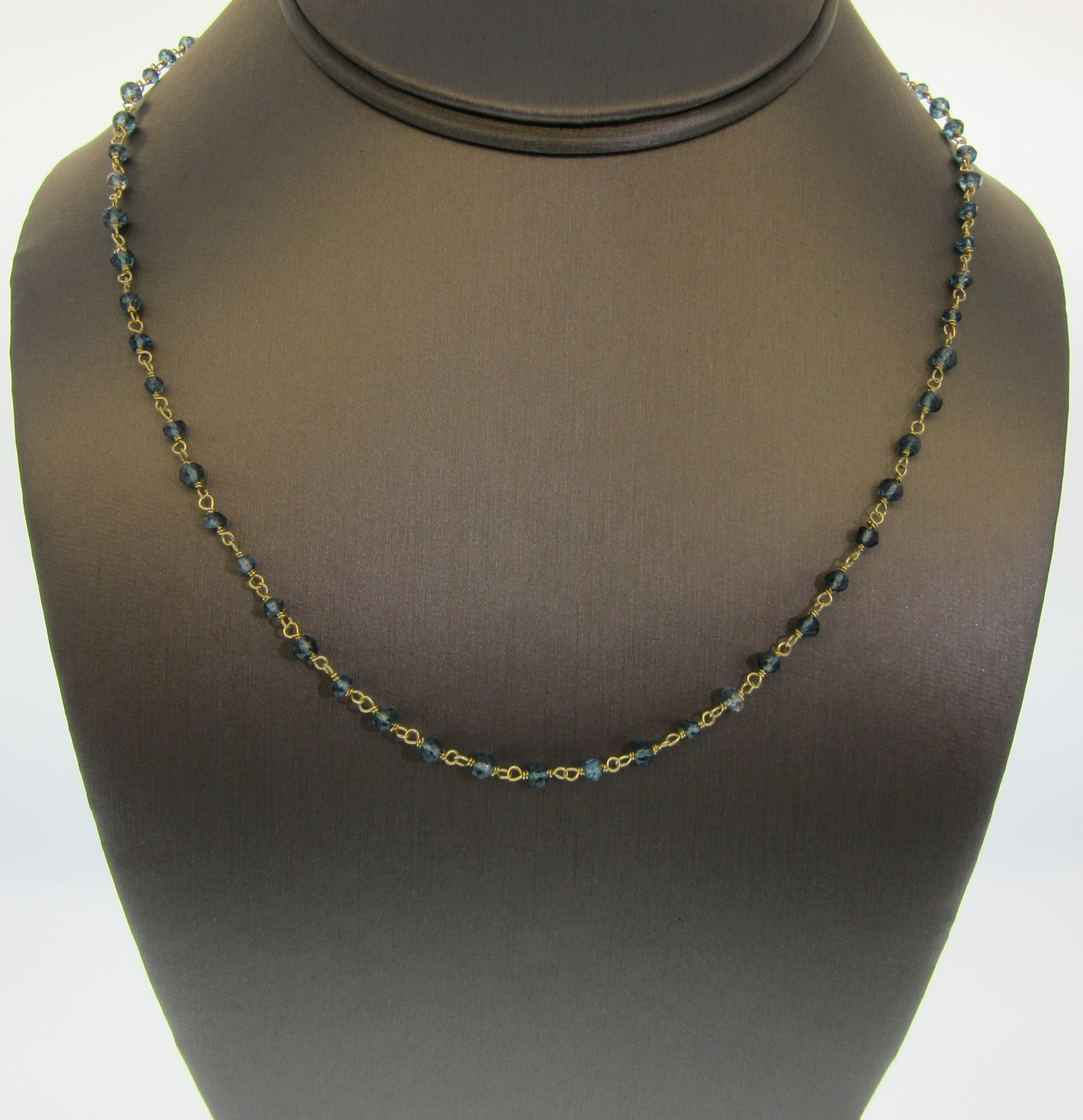 Rough Cut Blue Topaz by the Yard Necklace