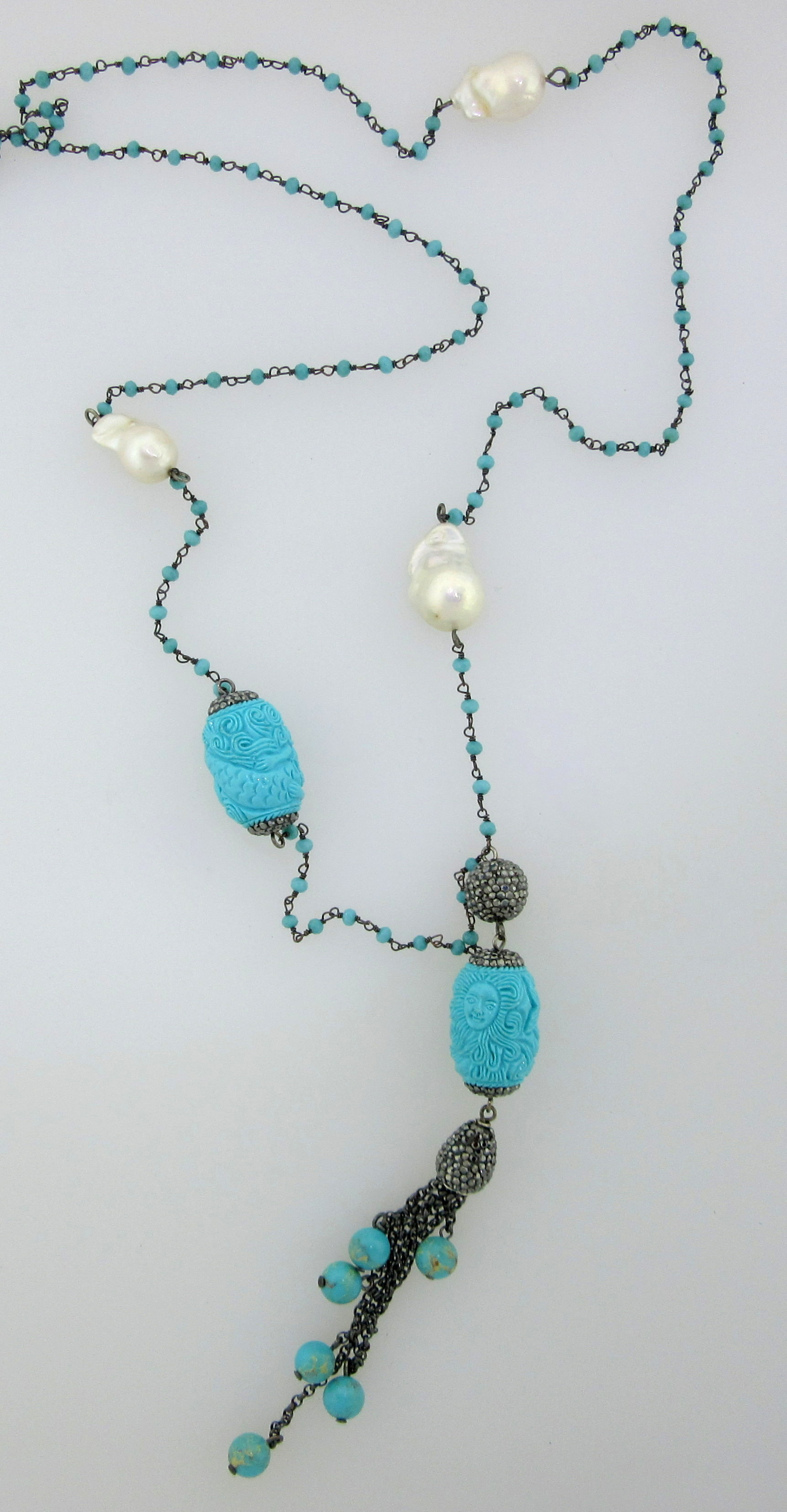 Turquoise, Crystal, Pearl & Buddha Tassle Necklace