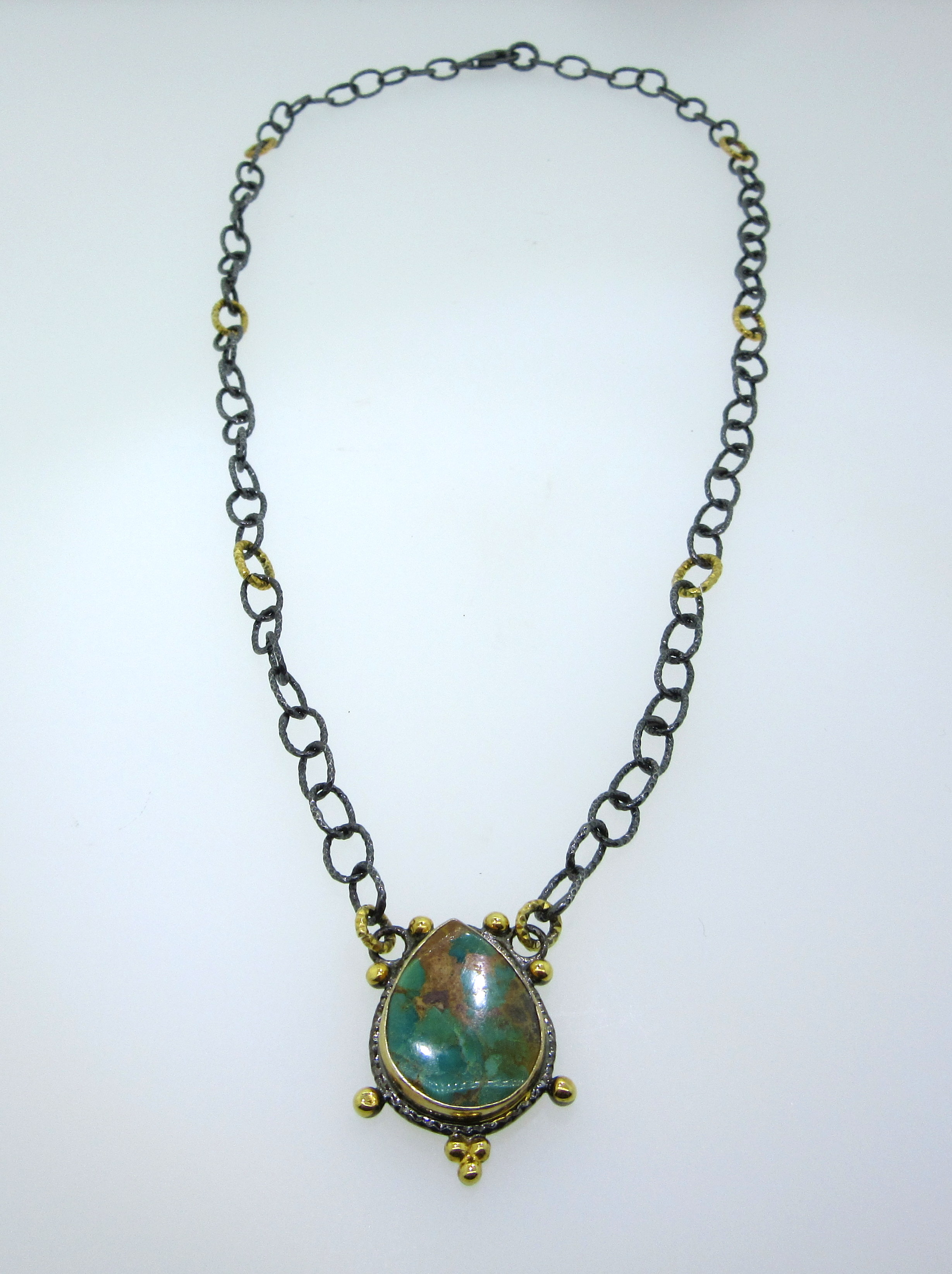Natural Turquoise Teardrop Necklace