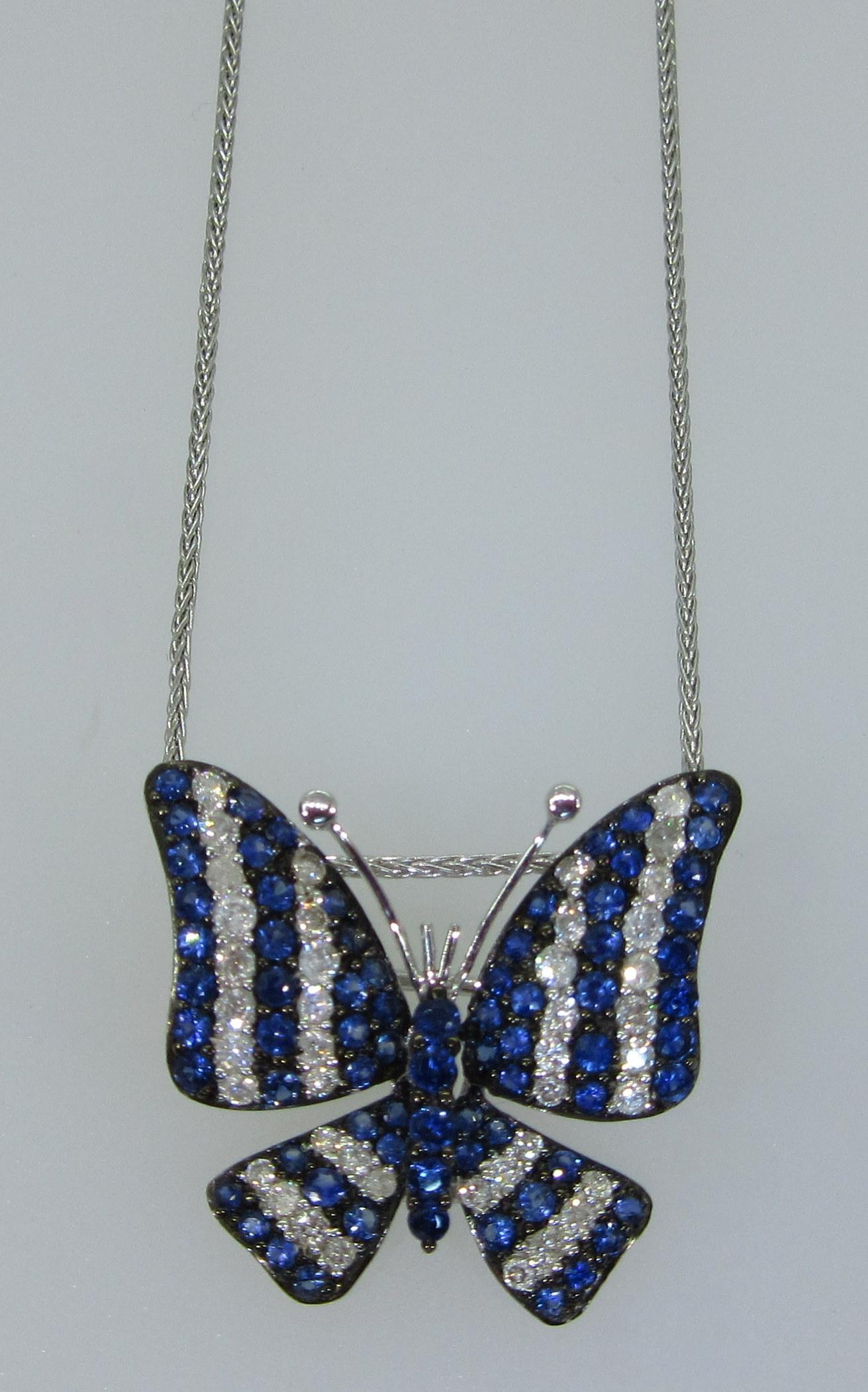 Diamond & Blue Sapphire Butterfly Pendant/Brooch