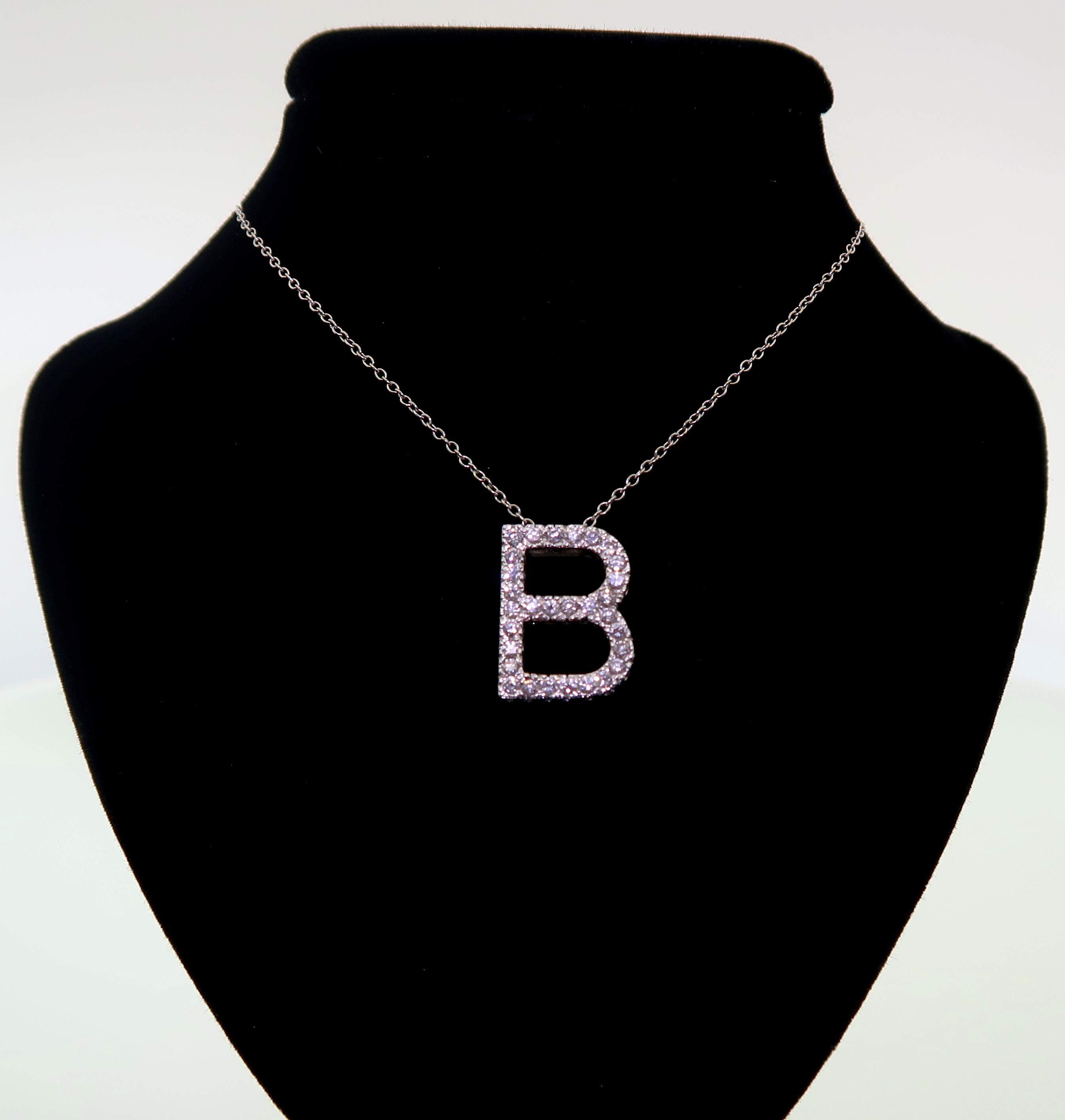 """Pave Diamond """"B"""" Initial Pendant"""