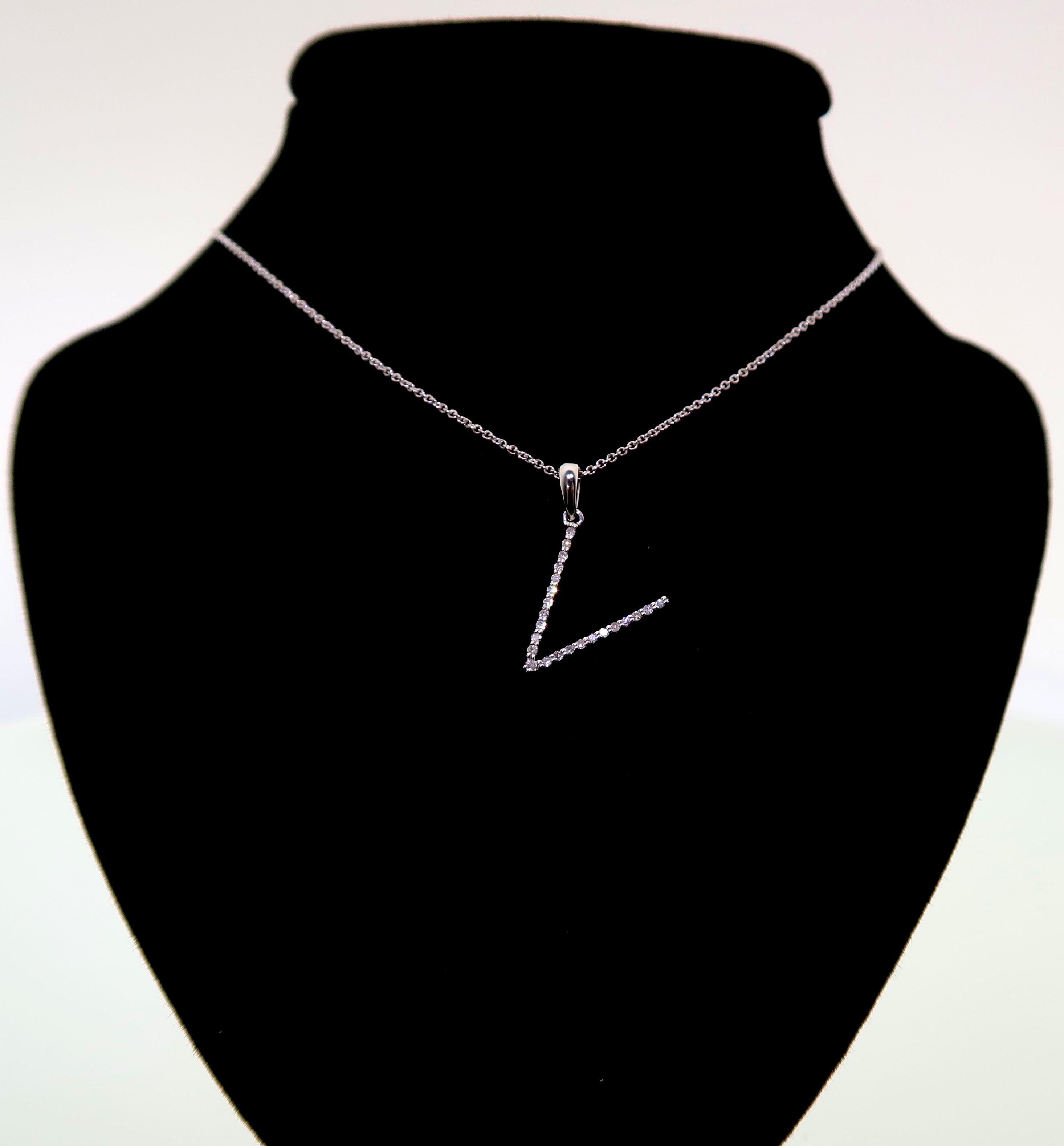 """Pave Diamond Stick """"V"""" Pendant"""