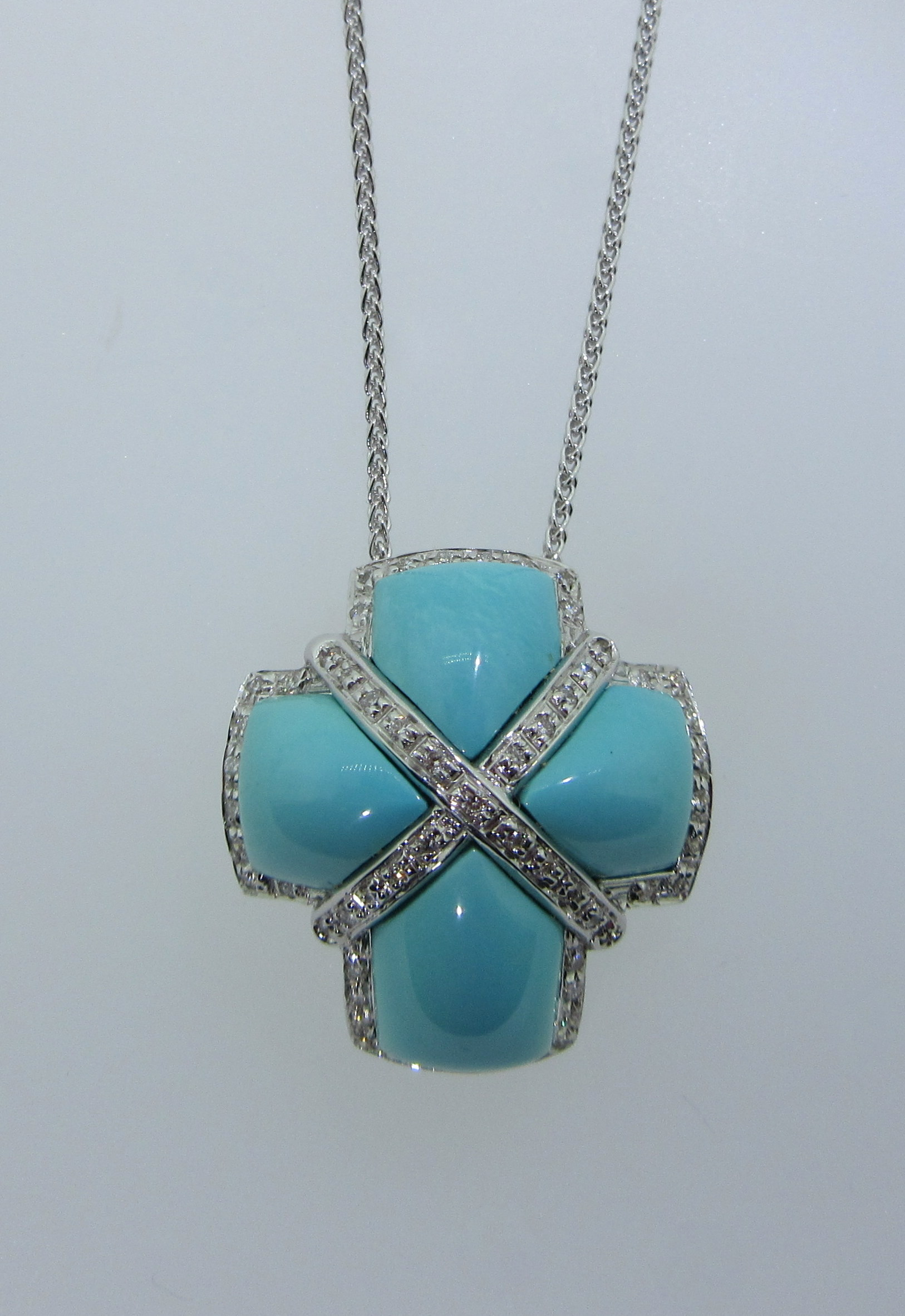 Turquoise & Diamond Cross Pendant