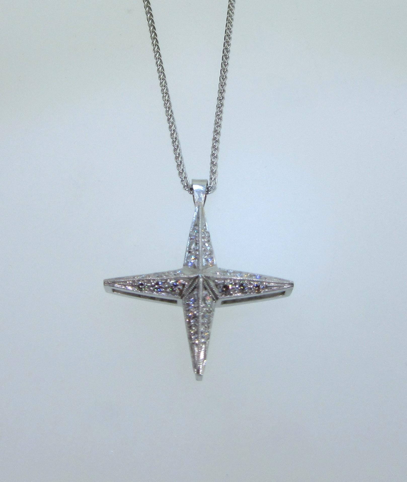 Symmetrical Diamond Cross Pendant