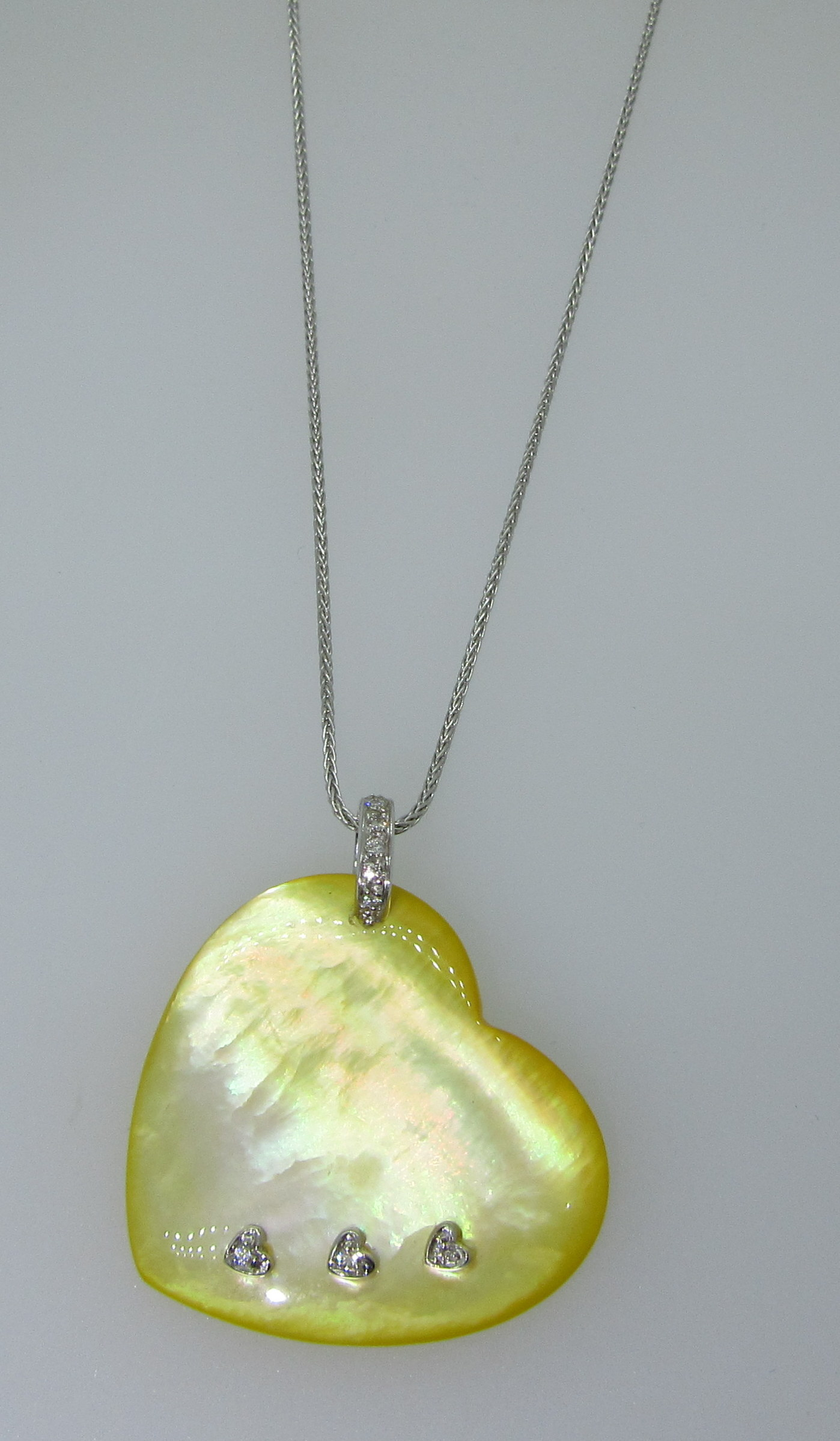 Yellow Mother of Pearl Heart Pendant