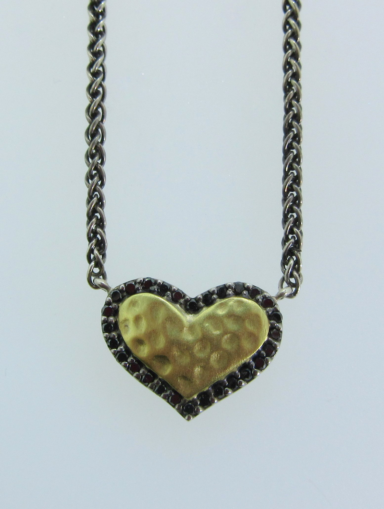 Small Hammered Gold Heart Pendant