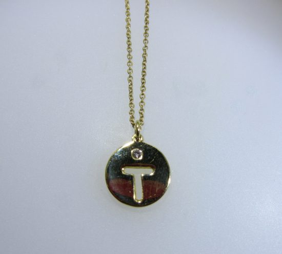 """T"" Diamond Cut Out Initial Pendant"