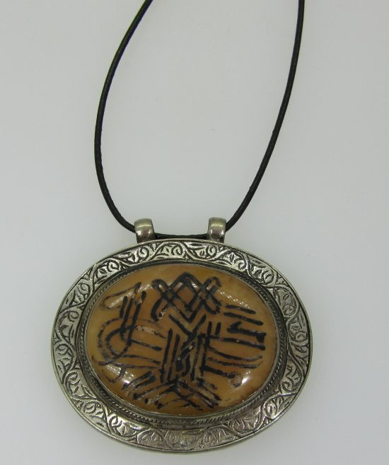 Bone & Sterling Silver Circle Pendant