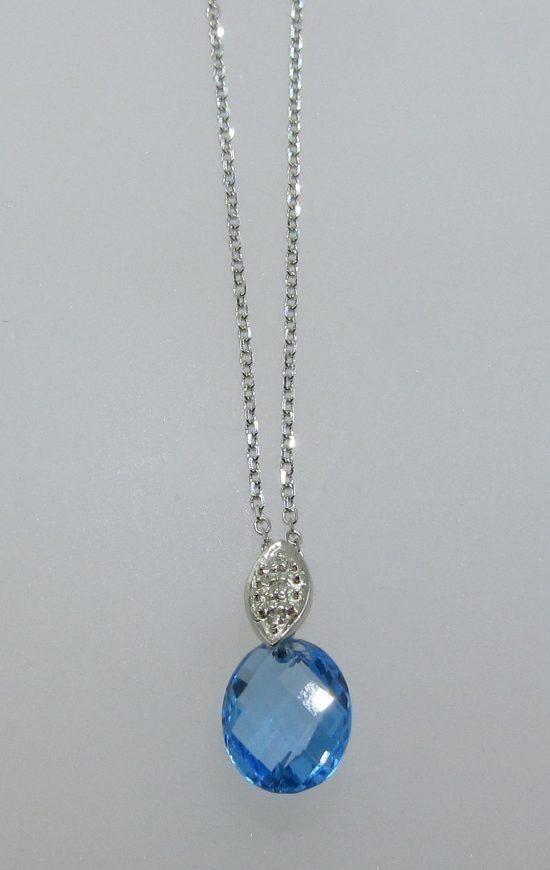 Blue Topaz Drop Pendant