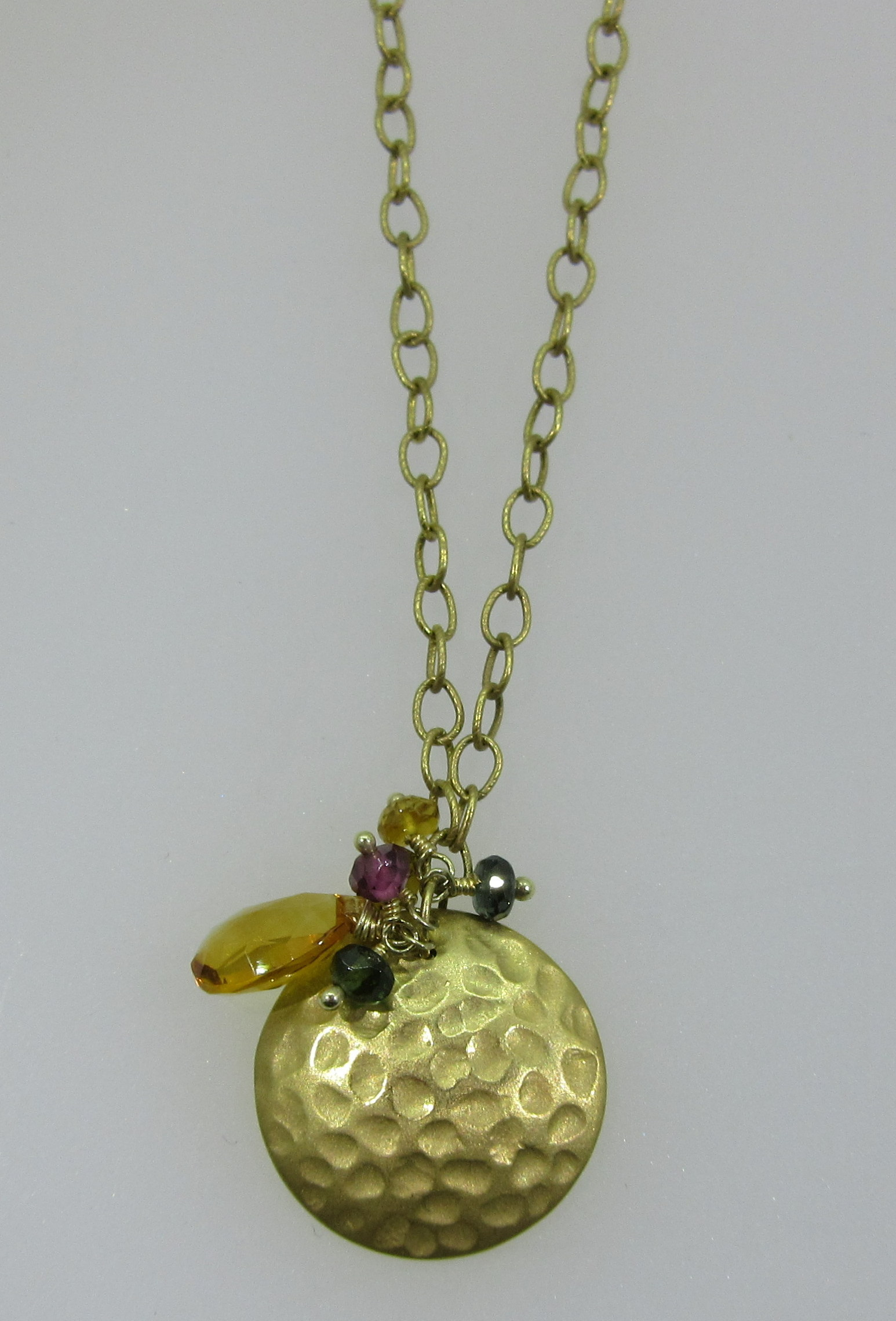 Hammered Gold Disc Pendant Necklace