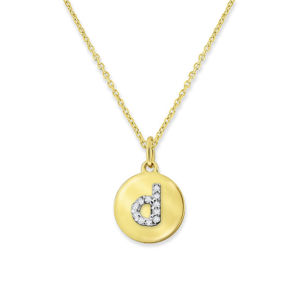 """D"" Diamond Mini Disc Initial Necklace"