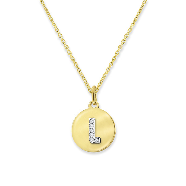 """L"" Diamond Mini Disc Initial Necklace"