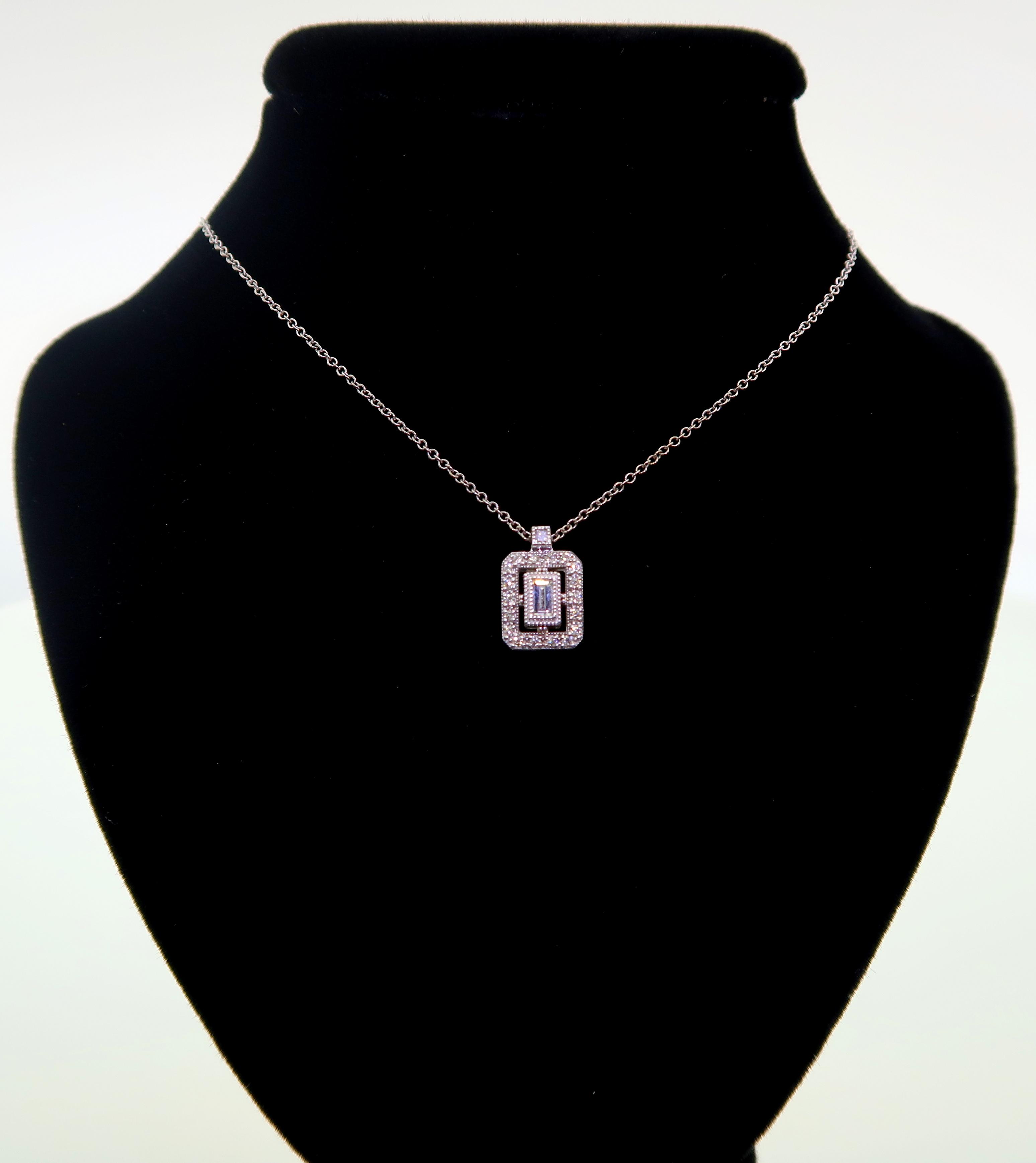Small Diamond Rectangle Pendant