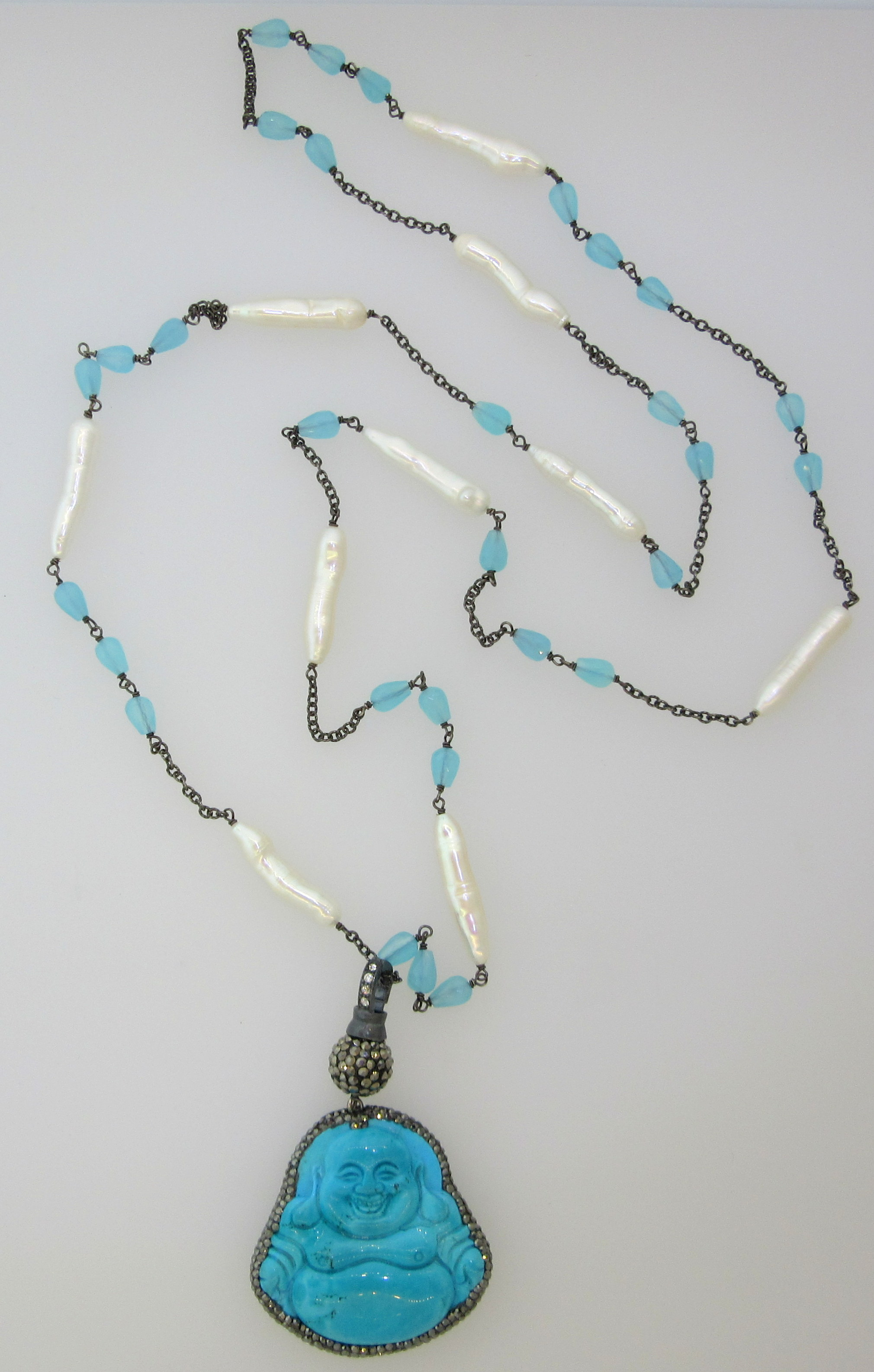 Long, Thin, Pearl Tube Calcedony & Sterling Silver Necklace