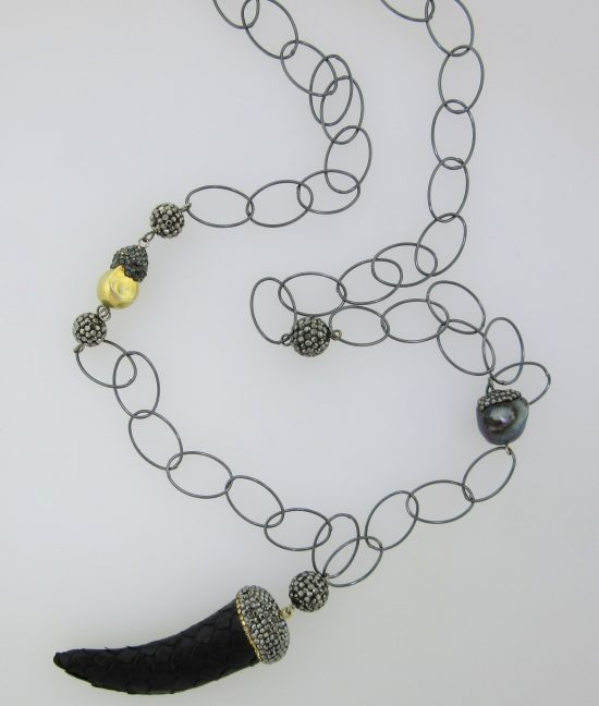 Dark Snakeskin Horn Pendant, Pearl, Crystal & Sterling Silver Wire Necklace