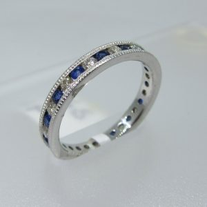Blue Sapphire & Diamond Alternating Band
