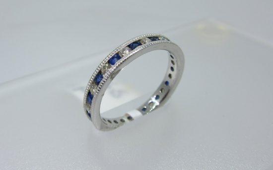 Blue Sapphire & Diamond Alternating Band