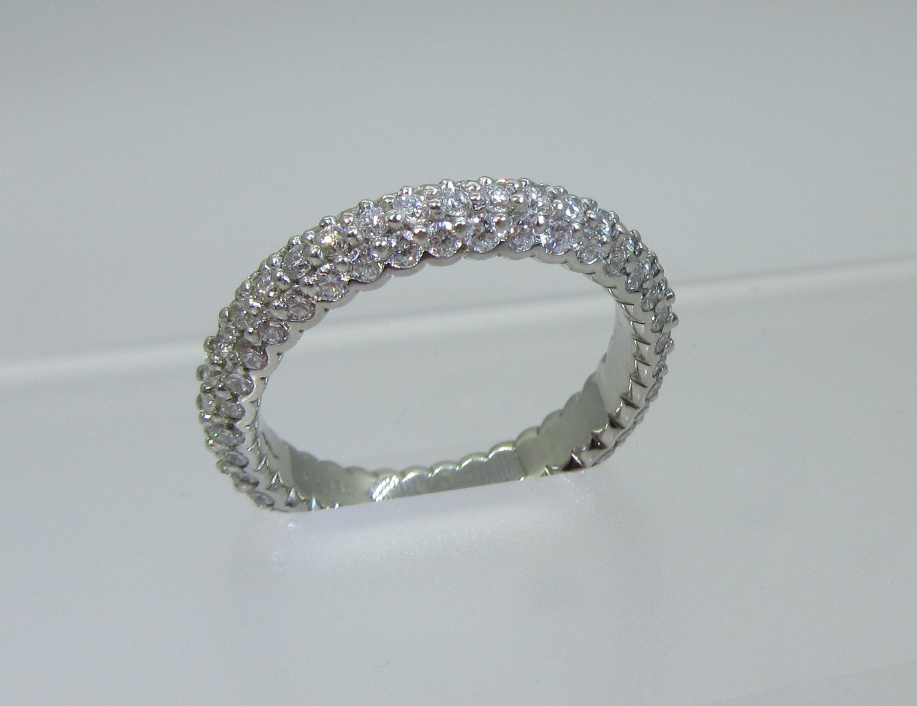 Three Sided Pave Diamond Band