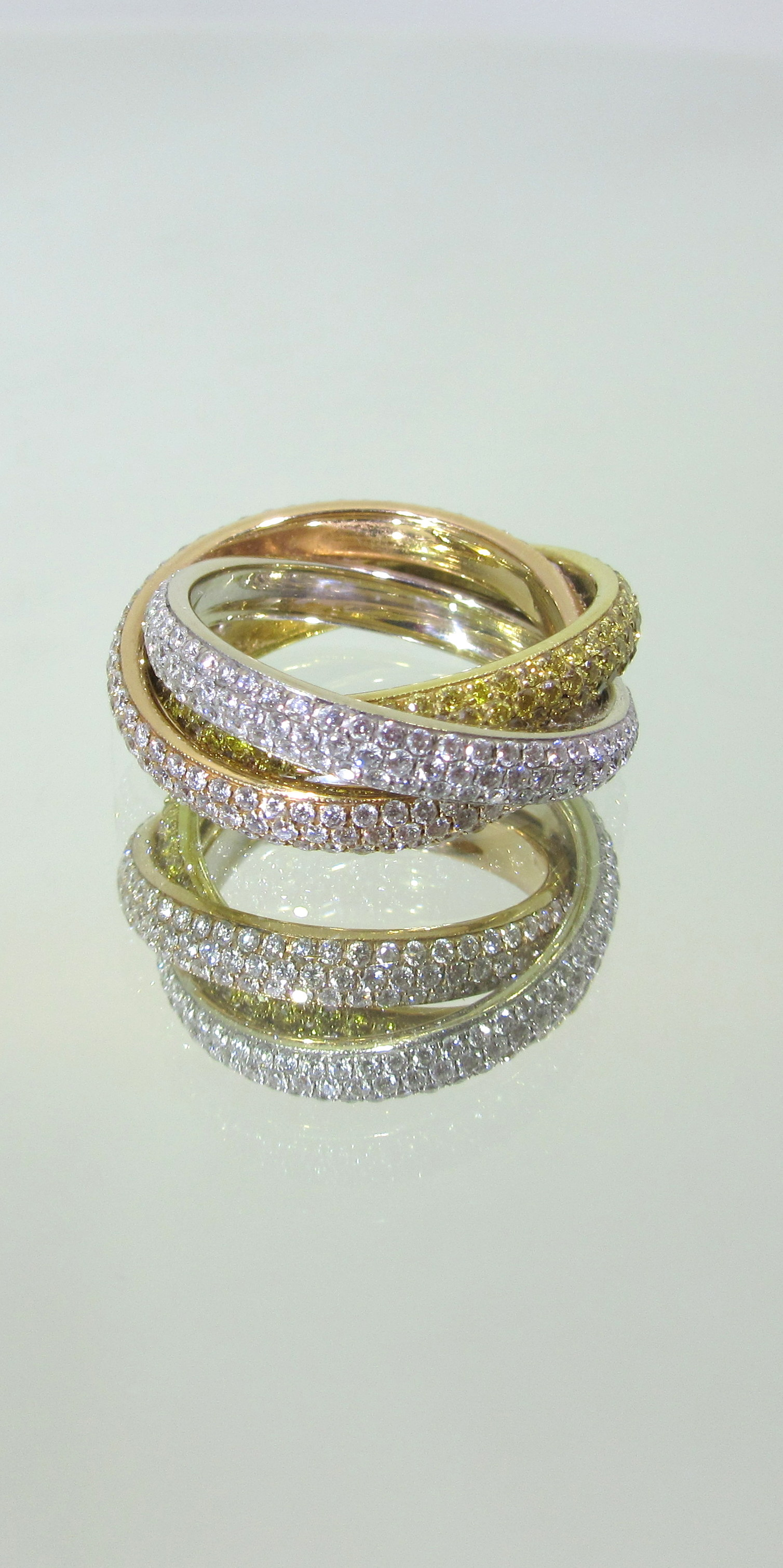 tri ring fine jewelry colored band floral samantha knight gold img bands color motif products
