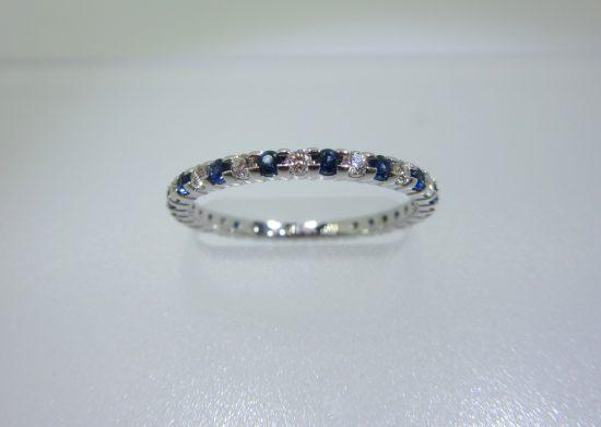 Blue Sapphire & Round Diamond Eternity Band