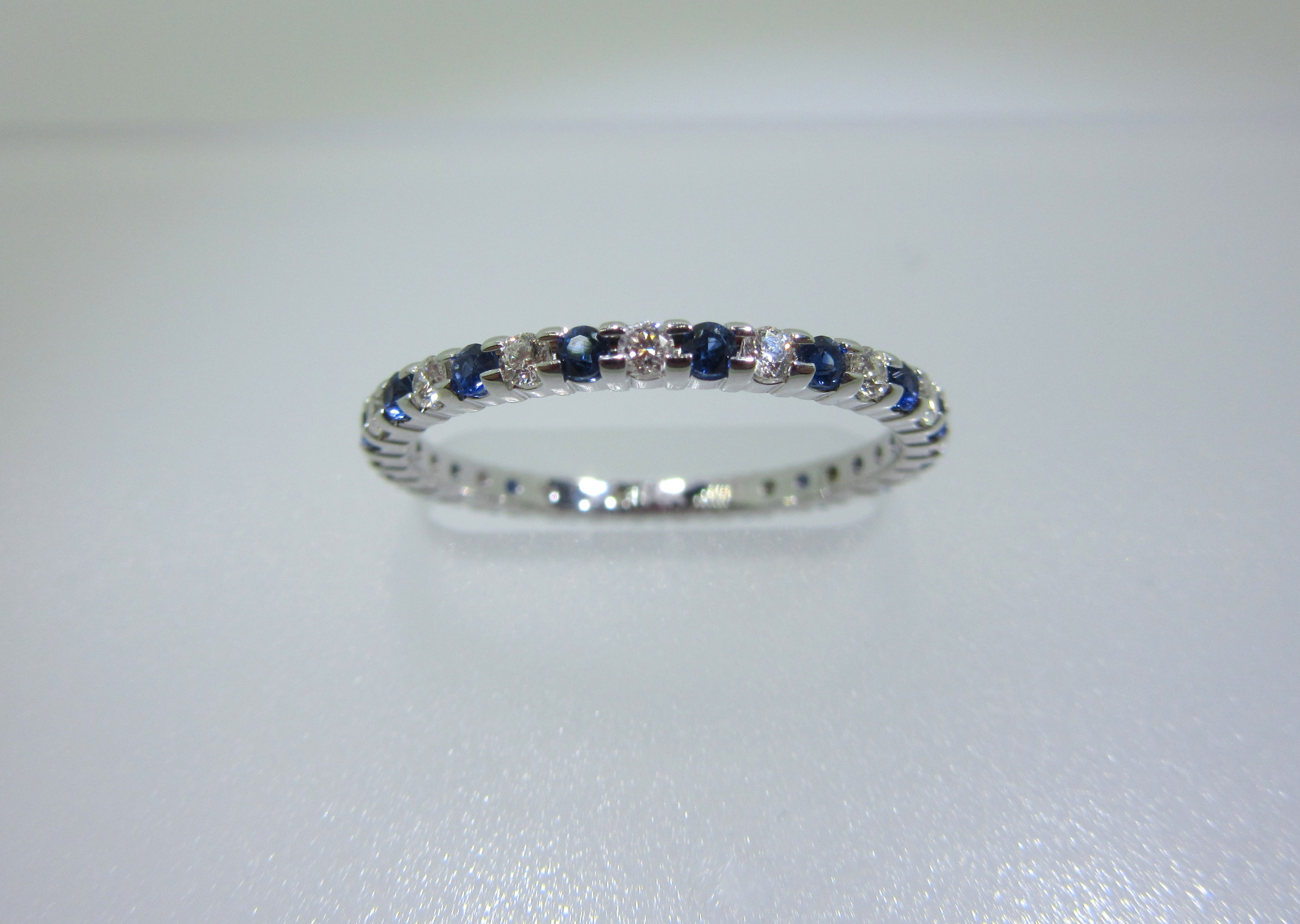 Blue Sapphire & Round Diamond Eternity Band