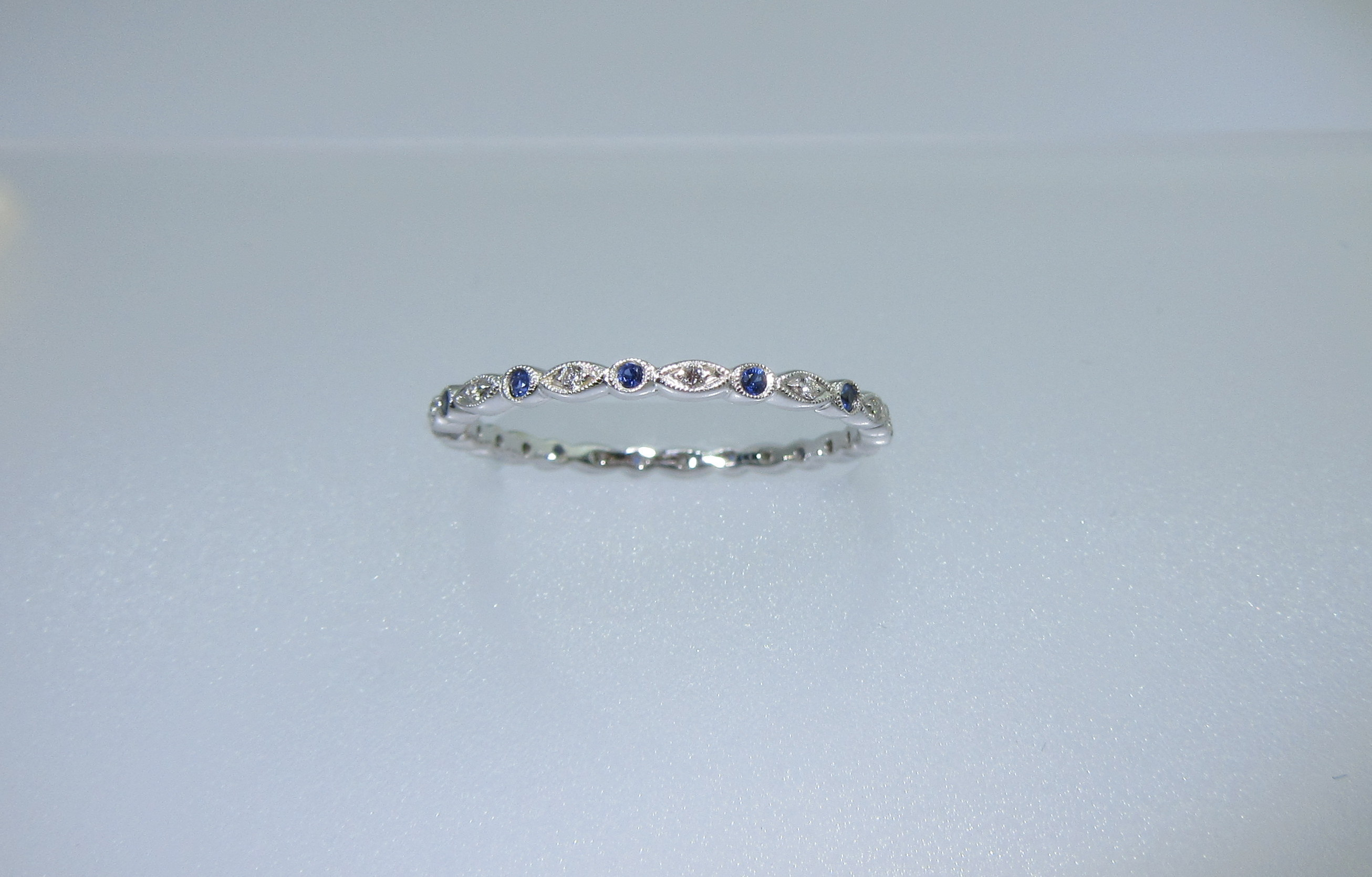 Blue Sapphire & Eternity Diamond Band