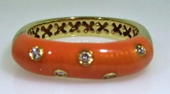 Coral Enamel Ring