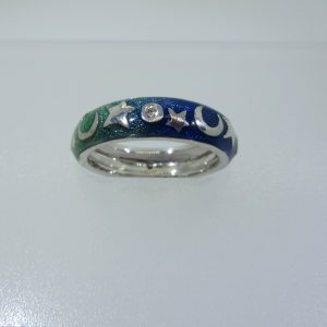 Blue Night & Day Enamel Ring