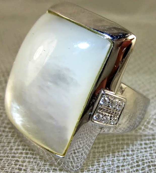 White Mother of Pearl Cocktail Ring
