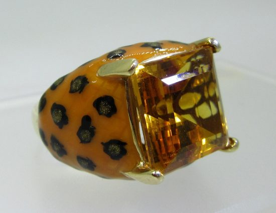 Enamel Animal Print Ring, with citrine center