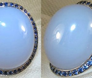 Blue Dome Chalcedony Ring