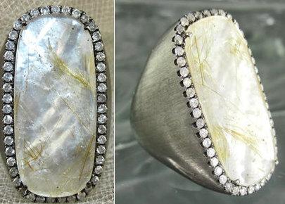Black White Mother of Pearl Rectangle Diamond Frame Ring