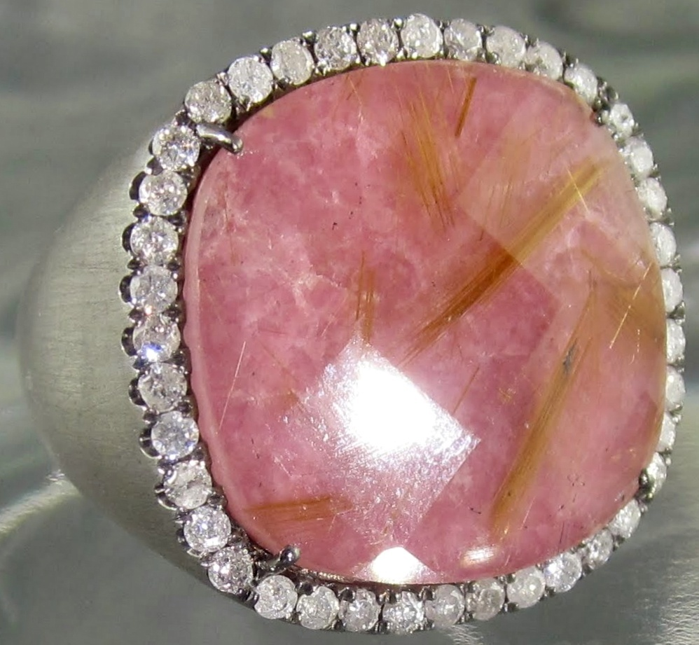 Black Pink Rhodonite Cushion Diamond Frame Ring